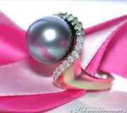 Edler Tahitiperle Ring mit Brillanten image
