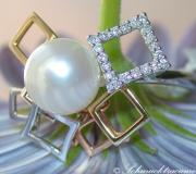 Tricolor Cultured Pearl Diamond Ring image