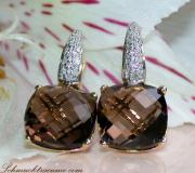 Pretty Smoky Quartz Diamond Earrings image